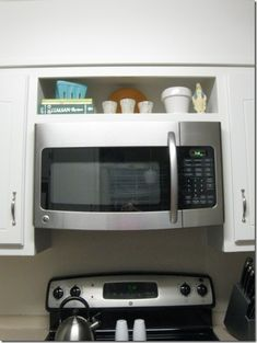 hang an over-the-range microwave without an overhead cabinet :) Microwave Shelf Over Stove, Kitchen Microwave Cabinet, Compact Microwave Oven, Hanging Microwave, Mounted Microwave, Kitchen Appliance Storage, Kitchen Redo, Kitchen Remodel, Otr Microwave