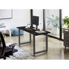 Black Desks You'll Love in 2020 Office Inspo, Office Setup, Office Desk, Multiple Monitor Setup, Black Desk, Office Essentials, Computer Setup, Distressed Painting, Open Shelving