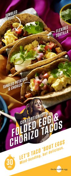 Contortionist's Folded Egg and Chorizo Tacos Egg Recipes, Mexican Food Recipes, Great Recipes, Cooking Recipes, Favorite Recipes, Recipe Ideas, Breakfast Tacos, Breakfast Dishes, Breakfast Recipes
