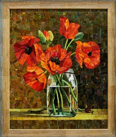 Мозаичная картина Маки в склянке