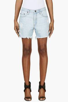 Nobody Blue Distressed Denim Mondo Shorts for women   SSENSE