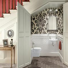 Want to refresh your small bathroom decor? Here are Cute and Best Half Bathroom Ideas That Will Impress Your Guests And Upgrade Your House. Space Under Stairs, Bathroom Under Stairs, Basement Bathroom, Washroom, Bathroom Doors, Under The Stairs Toilet, Basement Closet, Basement Steps, Loft Bathroom