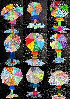 immagin @ rti: textures on umbrella - Kuvataide - Funny Spring Art Projects, School Art Projects, Club D'art, Classe D'art, Umbrella Art, Umbrella Crafts, 3rd Grade Art, Kindergarten Art, Preschool Art