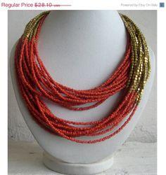 VALENTINE SALE Statement Necklace/Coral Necklace/Multi Strand Necklace/Chunky Necklace/Beaded Necklace/Bib Necklace/Beaded Jewelry on Etsy, $25.29