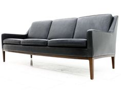 Black Scandinavian Leather Sofa At 1stdibs
