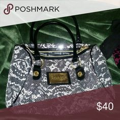 Betsy johnson handbag All sequence black n white like new no damages super clean Betsey Johnson Bags