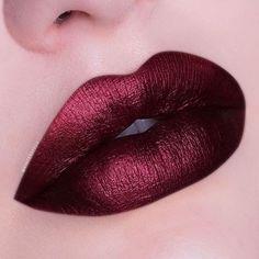 Shiny Burgundy Red Lips Lip Make up