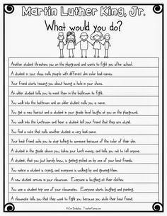 MLK Freebie: What Would You Do, Dr. Your students will honor MLK Martin Luther King, Jr. while reading, comprehending, and problem solving. 2nd Grade Ela, Second Grade, Fourth Grade, Mlk Jr Day, 5th Grade Activities, Classroom Activities, Teaching Social Studies, Teaching Math, Teaching Ideas