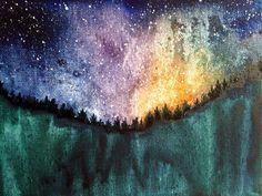 $85 - Night Dreams - Original Watercolor Landscape Sketch on by ElissaSueWatercolors