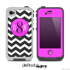 Black & White Chevron Pattern with Pink Monogram v2 Print Skin for the iPhone 4/4s or 5 LifeProof Case on Etsy, $9.99