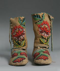 Antique Native American Indian Beaded Boots Moccasins Crow 1930'S ...
