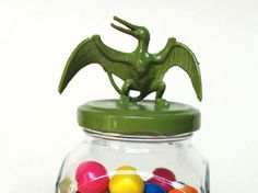 Green Dinosaur Storage Jar by TonysDinostore on Etsy
