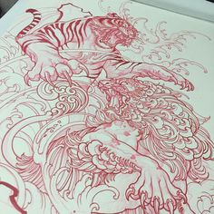 "536 Likes, 3 Comments - Elvin Yong (@elvintattoo) on Instagram: ""Another tiger vs foo dog drawing"""