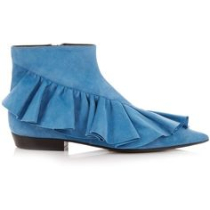J.W.Anderson Ruffled suede ankle boots (24.145 RUB) ❤ liked on Polyvore featuring shoes, boots, ankle booties, blue, pointed-toe boots, pointed toe booties, bootie boots, suede booties and short suede boots