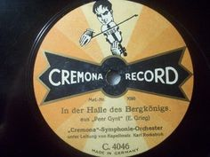 """Nice and rare old german Label for very low Special Price:-)  2nd 78rpm springtimeauction 78rpm with many Raritys :-)  !!! Low Startprice !!! Worldwide shipping !!!  KARL ROCKSTROH """"Peer Gynt - E. Grieg"""" Cremona Record picture label 78rpm 12"""""""