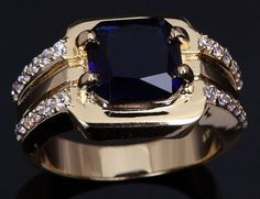 Sapphire, Blue 18K Yellow Gold Man's Ring Size 8 USA Bling #silvestromedia #SolitairewithAccents