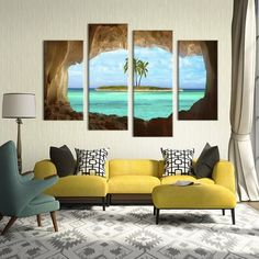 4 Pieces Multi Panel Modern Home Decor Framed Cave Island Seascape Wall Canvas Art