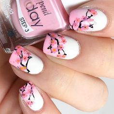 This is on sale now!! Check our feed for details! Cherry blossom nails! Get this layered look using our all new Welcome Spring plate! Grab yours today by clicking the link in our bio! Nail pic credit goes to the beautiful @hanninator