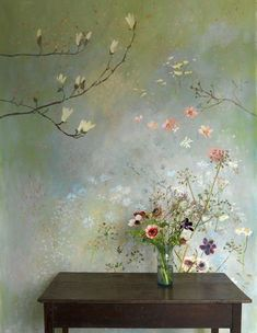 Decorative painting and Interior Design by Flora Roberts. Deco Design, Wall Design, House Design, Interior And Exterior, Interior Design, Modern Interior, Beautiful Wall, Wall Treatments, Flower Wall