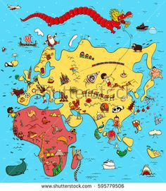 7 continents and 5 oceans in this world telugu new world funny illustrated map europe asia africa funny stock vector gumiabroncs Gallery