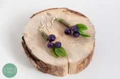 Blueberry earrings from polymer clay