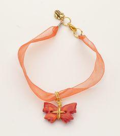 Lava Flow Butterfly ribbon bracelet