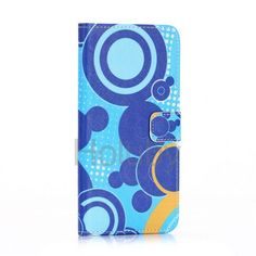 Colour Painting Cross Pattern Wallet Style Magnetic Flip Stand TPU+ PU Leather Case for iPhone 6 Plus 6S Plus (Blue Circles)