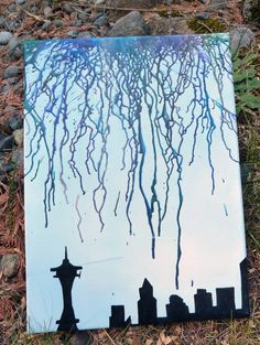 Melted Crayon Art - Seattle Skyline