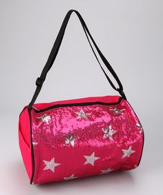 Perfect for traveling in style, this duffel bag features an adjustable shoulder strap and zippered closure. Covered in sequins and shiny stars, it packs a punch of girlish charm.100% polyesterImported