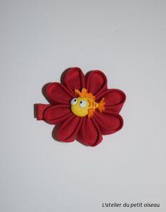 Pince fleur originale rouge poisson