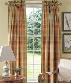 country curtains for a large window; buffalo check; prim, country ...