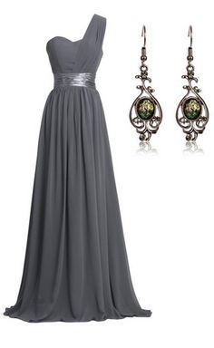 Grey One-shoulder Chiffon Dress (Bridesmaid Formal Evening Party)