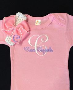 Monogrammed Baby Girl Pink Onesie with by PurttyStitches on Etsy