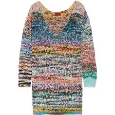 Missoni Oversized mélange cashmere and wool-blend sweater dress (7,185 HKD) ❤ liked on Polyvore featuring blue and missoni