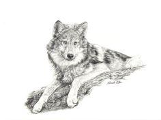 nikkiburr - Wolf on a Log by nikkiburr