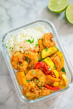This Easy Shrimp and Vegetable Skillet makes a healthy, quick, and delicious dinner! Packed with wild-caught shrimp, tender zucchini, and sweet bell peppers Shrimp Recipes Easy, Fish Recipes, Seafood Recipes, Vegetarian Recipes, Cooking Recipes, Healthy Recipes, Jar Recipes, Vegetable Recipes, Healthy Foods