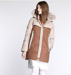 Loose Women Down Jacket  Patchwork Casual Thick Down Jacket Plus Size Hooded Jackets Womens Clothing Custom MadeW13-101 on Etsy, $176.00