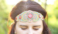 Headbands Coral and Aqua Beaded Headband by myfashioncreations