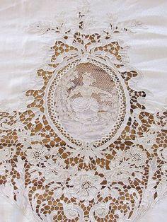 "Detail of Huge Belgian Zele Needle Lace Figural Antique Tableclothh - 224"" x 99""    -  Vintagehome"