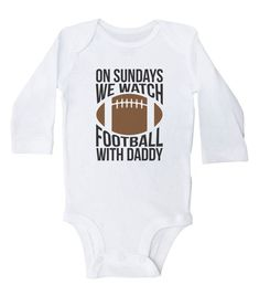dda7ef494 Football Onesie, On Sundays We Watch Football With Daddy, Football Baby  Outfit, Newborn Infant Cloth
