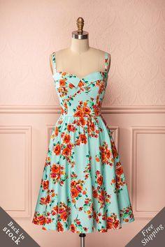 Elizée - Retro sleeveless A-line light turquoise floral print dress