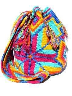 Wayuu mochila shoulder bag turquoise based pastel