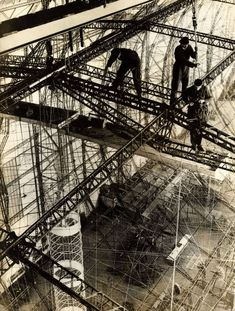 Zeppelin factory workers building airship LZ129 Hindenburg, Germany, 1934