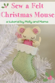 Hand stitch this adorable felt mouse and stocking decoration as part of your Christmas sewing! This free tutorial by Molly and Mama contains lots of photos and easy to follow instructions. Pin it for later!