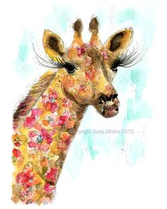 Floral Giraffe Watercolor Painting Print by Sweeters on Etsy, $20.00
