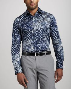 Etro - Mens Paisley Sport Shirt Blue - Elsa-boutique.it #Etro