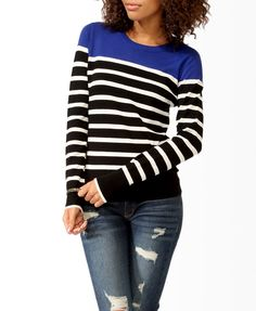 Longline Striped Colorblock Sweater | FOREVER21 - 2025101186