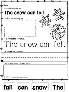 winter sentence printables, perfect to practice sight words!