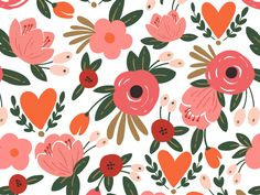 Draw Flower Patterns Romantic flowers pattern by Maria Galybina - View on Dribbble Flower Pattern Design, Flower Patterns, Flower Designs, Flower Illustration Pattern, Illustration Blume, Retro Flowers, Pink Flowers, Flower Wallpaper, Pattern Wallpaper