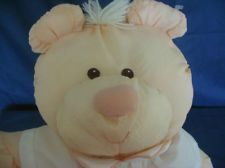 Fisher Price Puffalumps Bear peach & White Romper Plush Vintage 1986
